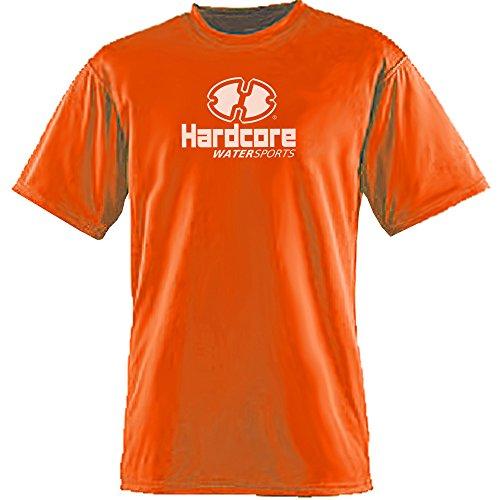 Mens Rash Guard Surf Swim Shirt Hardcore Water Sports SPF Protection Loose Fit Hi Visibility Orange