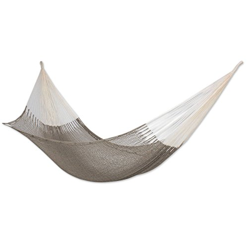 NOVICA Natural Grey Hand Woven Cotton 2 Person XL Mayan Rope Hammock with Hanging Accessories, Maya Mist