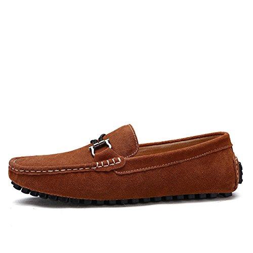 con da pelle Mocassini Flat Fashion Shoes vera Mocassini in pelle barca metallo in in on bottoni Business guida uomo BBethun da vera automatici Slip morbida da Marrone Scarpe Mocassini ZdOwRz