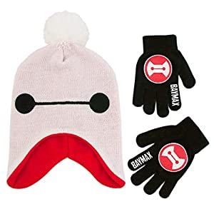 Disney Boys' Little Big Hero 6 Hat and Gloves Cold Weather Set, white/red/black, Age 4-7