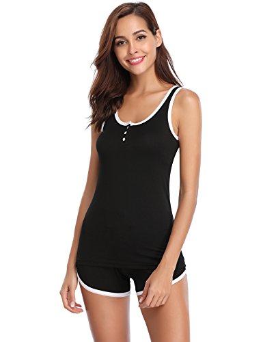 Noir shirt Coton Pcs Avec Courtes Aibrou En 2 Pyjama Top Femme T Manches De Ensemble Pantalon Pq04Z