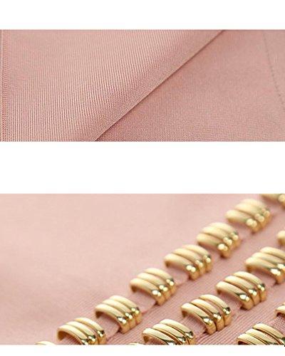 Women's Bandage Studded Dress Whoinshop Pink Prom Waist Sleeveless Sqwnxfv