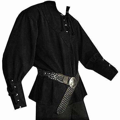 Mercenary Halloween Costumes (Mens Medieval Pirate Renaissance Shirts Lace Up Viking Costume Mercenary Scottish T Shirts Jacobite Ghillie)