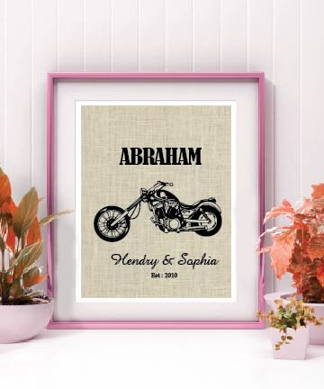 Motorcycle Lovers Gift Valentines Day Gift Personalized Motorcycle Print, Harley Davidson Decor, Motorcycle Gift, Personalized Family Sign, Burlap Print, Established Sign Customized Burlap Print # 024