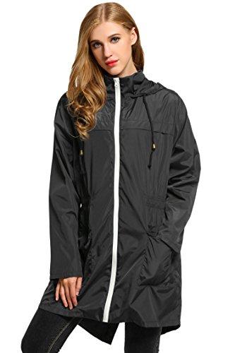 para Deportes al Libre Capucha Mujer Chubasquero S Abrigos Negro Aire XXL Ideal con Asimetrica Impermeables Chaqueta HOTOUCH zqUv1