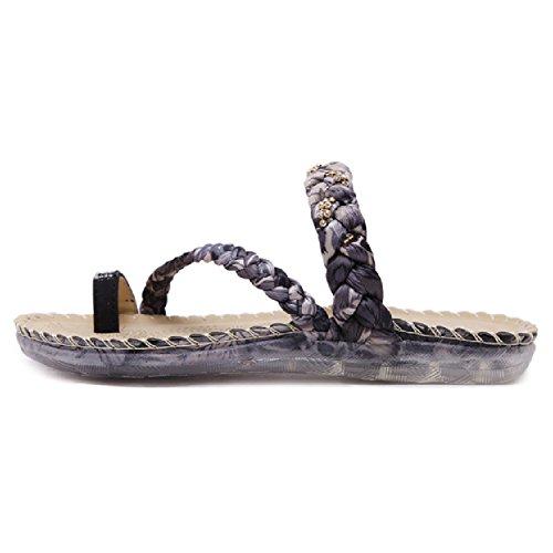 Btrada Womens Flip-flops Antislip Sandaal Kenmerkende Platte Bohemia-stijl Schoenen Zwart