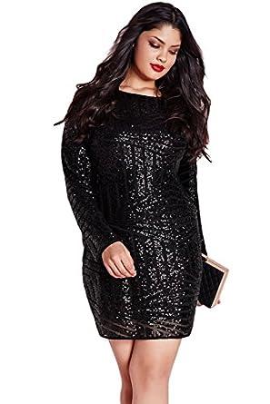 Amazon Ow Black Plus Size Sequin Mesh Mini Dress Clothing