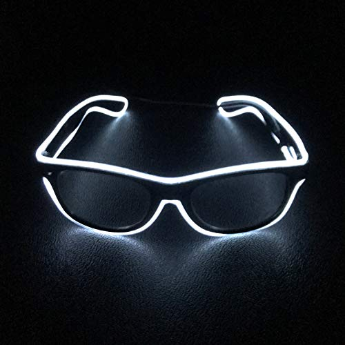 Groove Train Neon El Wire Party Glasses LED Glow Flash for Fun Concert Event, Wedding, EDM, Rave, Light Up Costume, Club, Bar, Dance, Birthday Gift
