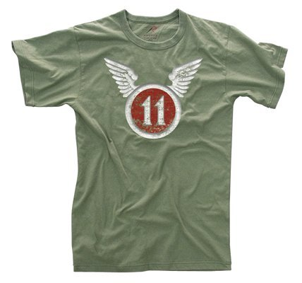 11th Airborne - Rothco Vintage T-Shirt/11Th Airborne, Olive Drab, Large