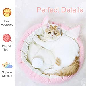 Cat Bed Round Pet Bed for Cats, Kittens, Puppies and Small Dogs / 18.5 inch Washable Pet Bed with Waterproof Bottom…