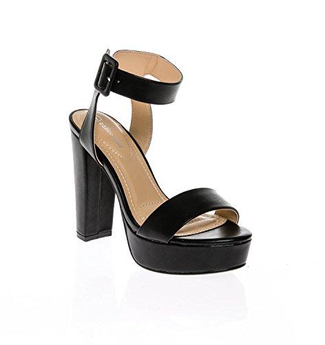 CALICO KIKI Women's Shoes Buckle Ankle Strap Open Toe Chunky High Heel Platform Dress Sandals (6 US, Black_PU) -