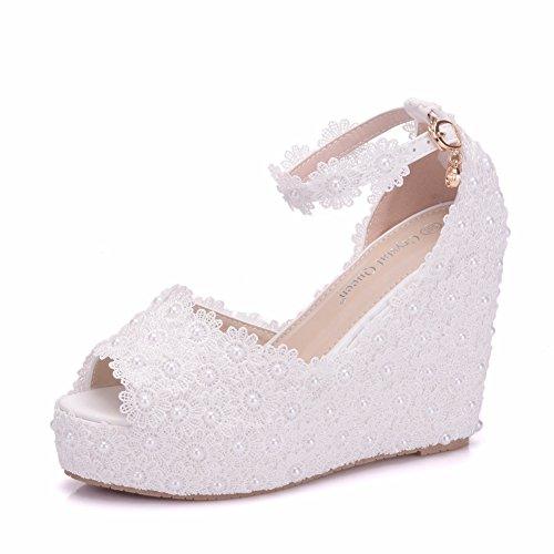 Pescado Tacón Zapatos Lace Alto Boda de de Mujer de Sandalias Boca Impermeable Cuña de White Plataforma wvw7Sq