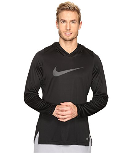 Nike Mens Dry Elite Basketball Pull Over Hooded Shirt Black Heather/Sail 776123-010 Size Large