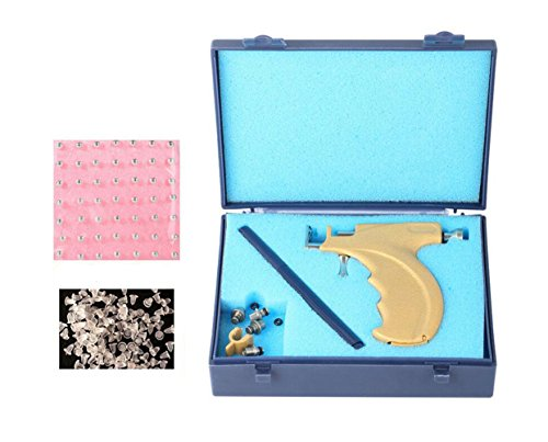 (1Set Professional Steel Safety Ear Body Nose Lip Navel Piercing Gun Pierce Tool Beauty Kit with 108 Steel Ear Studs Asepsis Sign Pen and Storage Case)