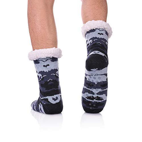 CHOWISH Men's Slipper Socks Winter Thermal Fleece Lining Camouflage Non Slip Stockings (Camouflage 2) - Fuzzy Socks Men