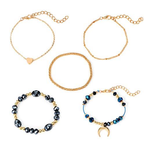 Barhalk 5Pcs/Set Exquisite Fashion Bracelets, Charm Gemstone Link Chain Women