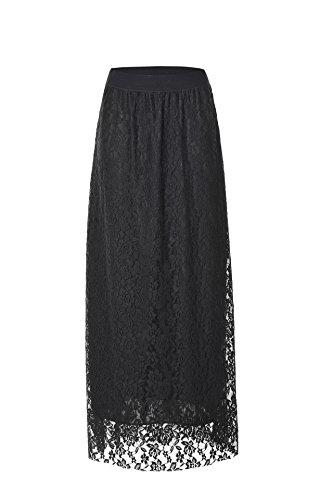 Femmes Taille en Haute Longue lgante Dentelle des Femmes Jupe Robe Oudan Noir Maxi Ligne A Jupe fpqvgRpwx