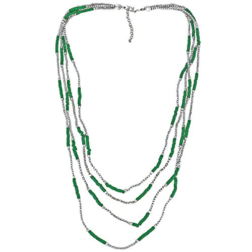 [Silver and Green Long Necklace Costume Fashion Jewellery Handmade] (Cute Costumes For Couples)