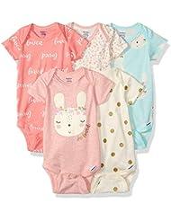 GERBER Baby Girls' 5-Pack Organic Short-Sleeve Onesies Bodysuit