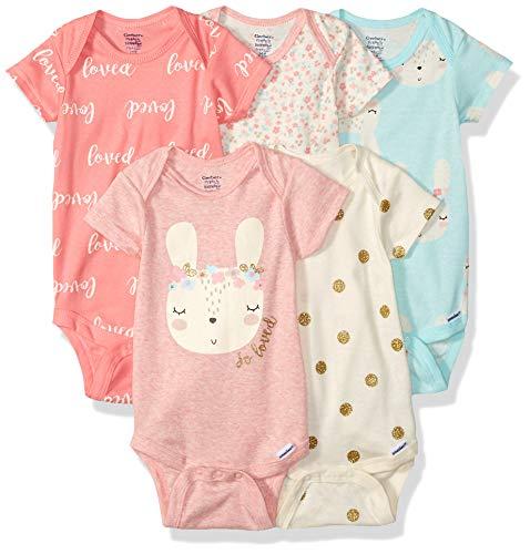 Gerber Baby Girls 3-Pack Organic Short-Sleeve Onesies Bodysuits, Bunny Love, 6-9 Months