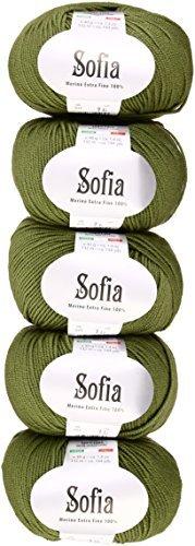 Sofia Wool Yatai Green System 40 g 132 m 5 pieces set