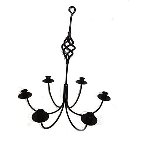 Wrought Iron 6 Arm Candle Chandelier w/ Bird Cage