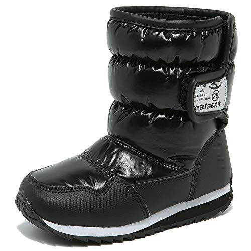 (HOBIBEAR Kids Winter Snow Boots Waterproof Outdoor Warm Faux Fur Lined Shoes with Strap (Black,7 Toddler))