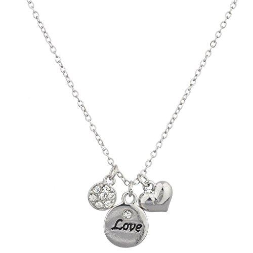 Lux Accessoires Argenté Pave Cercle Cœur Amour Cluster Collier à breloques