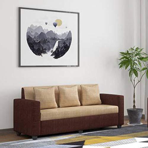 Bharat Lifestyle Tulip Fabric 3 Seater Cream Brown Sofa