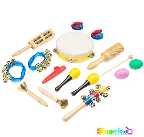 Toddler Toys Musical Instruments – Smarkids 15 pcs Prime Wooden Baby Toys for Kids Preschool Educational Early Learning Offworld Percussion Set Rattle for Boys and Girls with Toy Storage Backpack