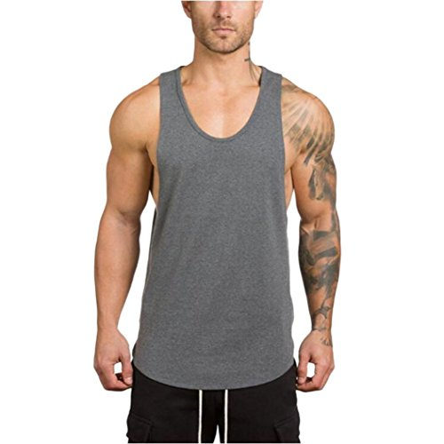 - iLXHD Men's Gyms Bodybuilding Fitness Muscle Sleeveless T-Shirt Top Vest Tank (L, Grey)