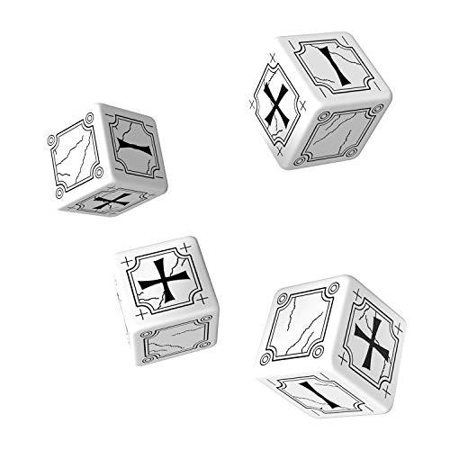 Q-Workshop: Set of 4 - Carved Ancient Fudge d6 White & Black Fudge Dice