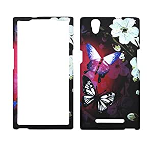 2D White Flower Butterfly For ZTE ZMax Z970 Case Cover Hard Phone Case Snap on Shield Protector Rubberized Touch Faceplate Cover