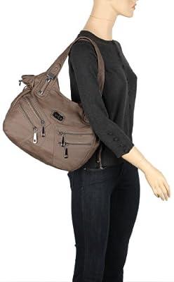 Scarleton Front Zippers Washed Shoulder Bag H1476