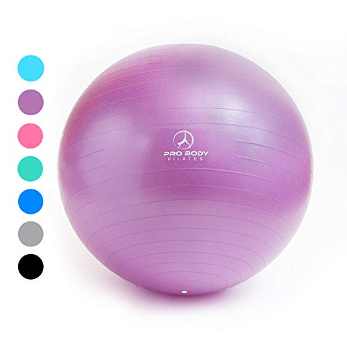 (Exercise Ball - Professional Grade Anti-Burst Fitness, Balance Ball for Pilates, Yoga, Birthing, Stability Gym Workout Training and Physical Therapy (Purple (No Pump), 55 cm))