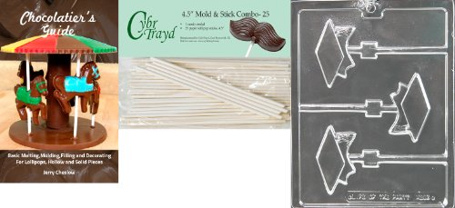 Cybrtrayd Graduation Cap Lolly Chocolate Candy Mold with 25 Cybrtrayd 4.5-Inch Lollipop Sticks and Chocolatier's Guide