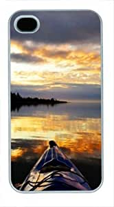 High Quality Fashion White Plastic Case for iPhone 4 Generation Back Cover Case for iPhone 4S with Setting Sun