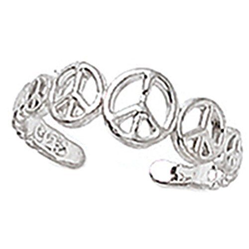 Finejewelers Sterling Silver Rhodium Finish Toe Ring Peace Signs