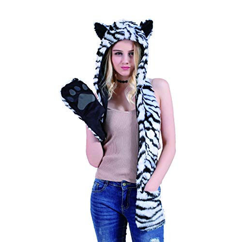 White Tiger Animal Hat Spirit Hood Full Hat Scarf Pockets s 3 in 1 Ear Flat Cap Hoodie Furry Gloves Paws Mittens Party Costume Gift for Women Men Adult Teen -