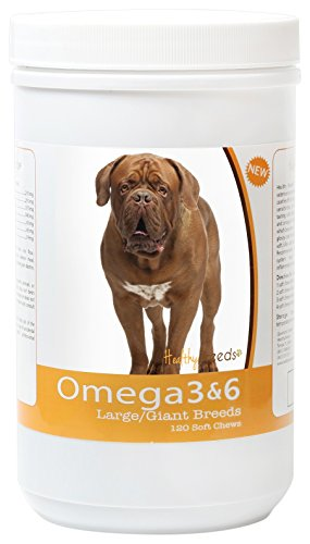 Healthy Breeds Dog Omega 3 & 6 Fish Oil Soft Chews for Dogue de Bordeaux - Large Dog Formula - Over 40 Breeds -Supplement with Anchovy, Krill Oil - 120 Count - HP Skin and Coat Support