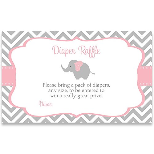- Elephant Baby Shower, Diaper Raffle Tickets, Chevron, Stripes, Pink, Girls, It's A Girl, Gray, Sprinkle, Little Peanut, Set of 25 Printed Diaper Raffle Tickets, Raffel, Chevron Elephant