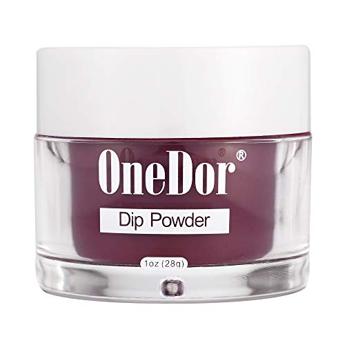 - OneDor Nail Dip Dipping Powder - Acrylic Color Pigment Powders Pro Collection System, 1 Oz. (R3989 - Wine Red)