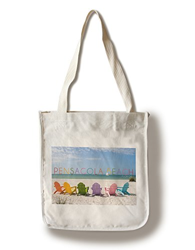 Pensacola Beach, Florida - Colorful Beach Chairs (100% Cotton Tote Bag - - Florida Shopping Pensacola