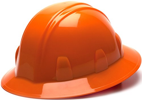 Pyramex Full Brim Style 4-Point Ratchet Suspension Hard Hat – Fits Most Head Sizes – Optimal Protection – Comfortable Design – Included Rain Trough – Low Profile – Orange