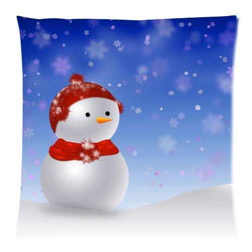 カスタムファッションホームインテリアMerryクリスマスかわいい雪だるま枕カバークッションケース20 x 20 (両面)   B00PVUNQ1Y
