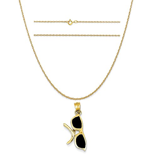 14k Yellow Gold Solid 3-Dimensional Black Enameled Sunglasses Charm on a Rope Chain Necklace, - Sunglasses K C