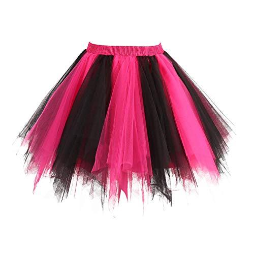 (Dresstore Women's Short Vintage Petticoat Skirt Ballet Bubble Tutu Multi-Colored Black-Fuchsia)