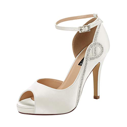(ERIJUNOR E8816 Women Peep Toe Side Open Rhinestones Comfortable Platform Satin Bridal Wedding Party Shoes Ivory Size 8)