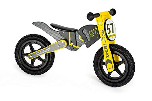 Small Foot 10739 Wooden Walking Bike in Motocross Design, Triple-Adjustable seat with Soft Saddle, Trains The Balance