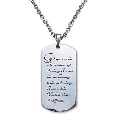 serenity prayer stainless steel designer dog tag necklace amazon com